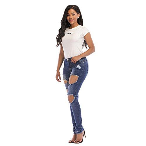 Blue lastique Broderie Broderie Color Pantalons Taille Femmes La XXXL Blue Trou Couleur Haute des Otprdirect Denim Size wI0nOq7