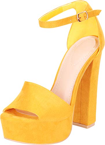 Cambridge Select Women's Open Toe Ankle Strap Chunky Platform Extra High Block Heel Sandal,8 B(M) US,Mustard IMSU