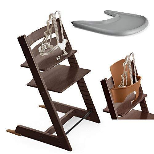 - Stokke Tripp Trapp Chair, Walnut With Baby Set & Storm Grey Tray Set