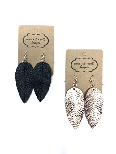 Leather Earrings/Two Pairs Leaf or Teardrop Earring/Joanna Gaines Zia Style Genuine Leather/Black & White or Gold & Silver/Diffuser Earrings for Essential Oils (Rose Gold & Black Fringe Leaf)