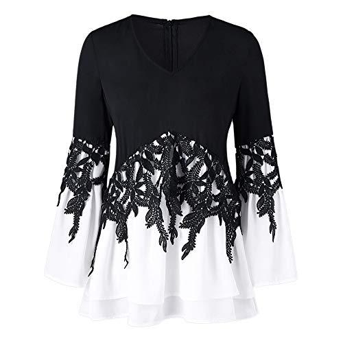 on Plus Size V Neck Long Sleeve Chiffon Blouse Shirt Tops (L, Black-2) ()