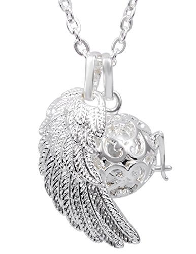 Eudora Harmony Bola Angel Wing Musical Chime Ball 16mm Pendant Necklace Pregnancy Gift & 30'' Chain Silver