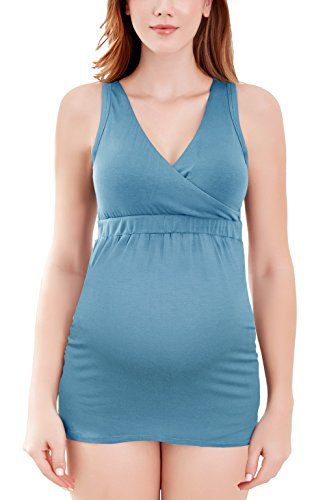 Intimate Portal Bump Parade Maternity Nursing Tank Top Breastfeeding Cami Sleep Bra with Pads Blue M
