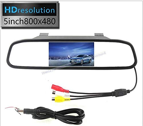 BEESCLOVER 5'' Inch Car Rear View Mirror Monitor 2CH Video Input 800480 DC 12V~24V Car Parking Monitor Black by BEESCLOVER