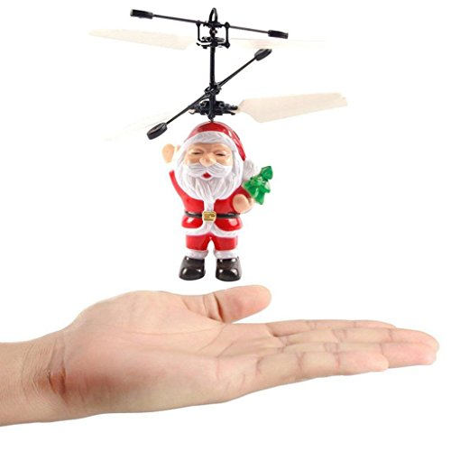 Ikevan Electric Infrared Sensor Flying Ball Father Christmas Helicopter Led Light Toy Santa Claus Aircraft