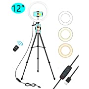 """#LightningDeal TaoTronics 12"""" Selfie Ring Light with 3 Color Modes, 10 Adjustable Brightness, 61"""" Extendable Tripod Stand, 2 Phone Holders, Bluetooth Remote Shutter for Photography/Makeup/Live Stream/YouTube/Vlogs"""