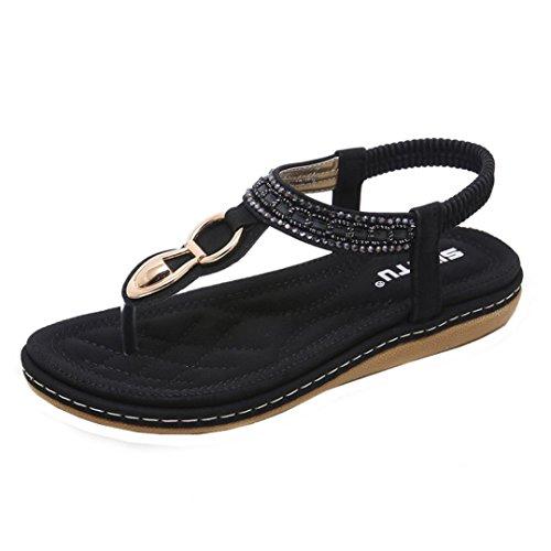 New Summer Women Sandals Flat Casual Metal Shoes Soft Rhinestone Thong Sandals(Black-2, CN37(US 6))