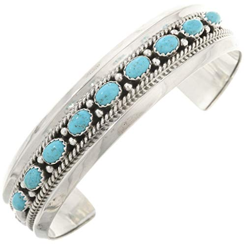 Genuine Turquoise Row Navajo Bracelet Hammered Silver Patterns 0248