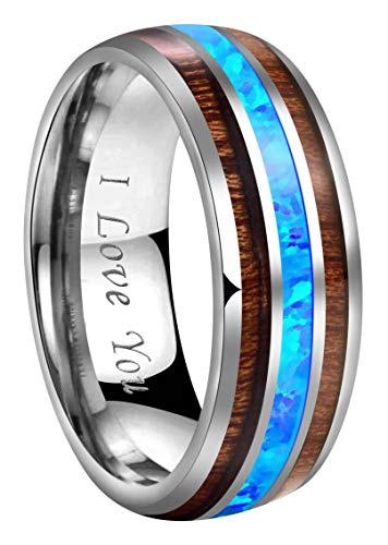 - CROWNAL 8mm Blue Opal Rare Koa Wood Inlay Tungsten Carbide Ring Men Women Wedding Band High Polished Engraved I Love You Size 7 to 17 (8mm,10)