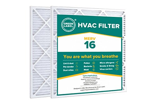 Green Label HVAC Air Filter 24x25x1, AC Furnace Air Ultra Cleaning Filter MERV 16 - Pack of 2
