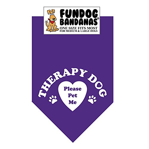 Image of Therapy Dog Please Pet Me Bandana (One Size Fits Most for Medium to Large Dogs, Purple)