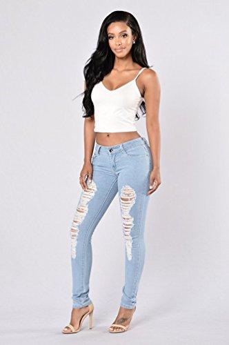 Denim Taille Déchirés À Trous Bleu Wanyang Femme Printemps Haute Leggings Pantalon Jeans W9E2DHYI