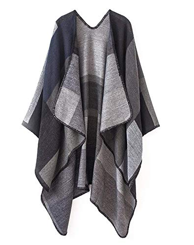 Warm Large Poncho Cape Open Front Cardigan Sweater Cape Shawl for Women Fall Winter Black