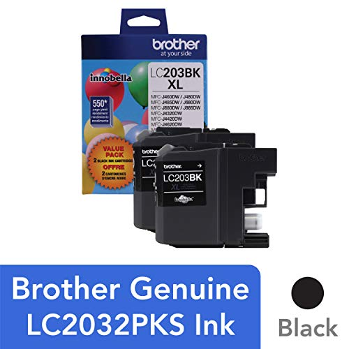 Brother Genuine High Yield Black Ink Cartridges, LC2032PKS, Replacement Black Ink Two Pack, Includes 2 Cartridges of Black Ink, Page Yield Up To 550 Pages/Cartridge, LC203 ()