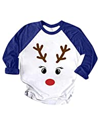 SNOWSONG Christmas Elk Print Long Sleeve T-Shirt for Women Colorblock Casual Blouse Tops