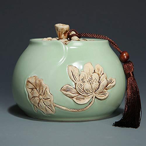 QYZLT Ru kiln red Glaze Lotus Leaf Coffin Moisture-Proof Seal Cute pet Animal pet cat Dog Commemorative Funeral Supplies,Bronze