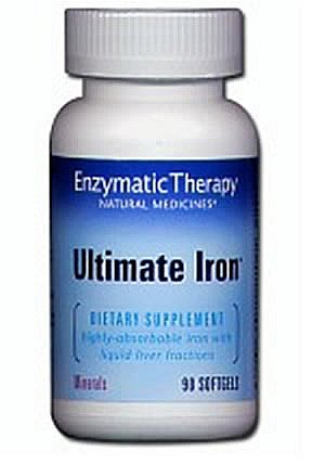 Enzymatic Therapy Ultimate Iron 90 softgels (pack of 12)
