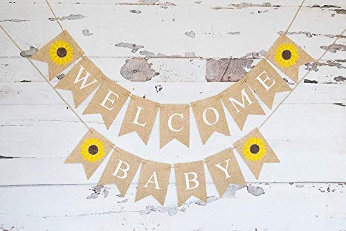 Welcome Baby Sunflower Banner for Summer Baby Shower or Gender Reveal Décor -
