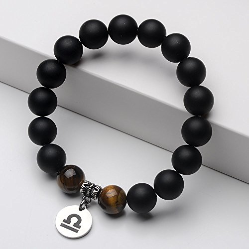 Jeka Zodiac Bracelet for Men Libra Constellation Sign Charm 12mm Black Agate Tiger Eye Natural Stone Healing Energy Beads Elastic Handmade Jewelry
