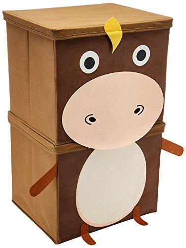 Miamour Donkey Fabric Storage Organizer, 2 Tier, Brown