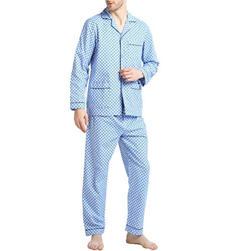 (Pajamas for Men, 100% Cotton Fleece Pj Set with Elastic)