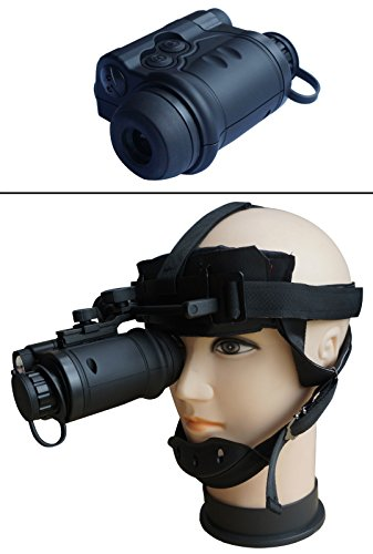 Ultimate Arms Gear Night Vision 1st Gen 1X20mm Monocular Rubber Armored Stealth Black with Tactical Head Mount Kit and Batteries -