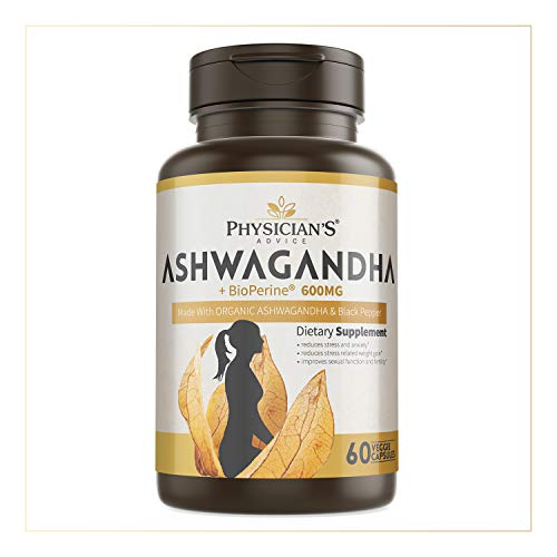 Physicians Advice 600mg Organic Ashwagandha Capsules with Black Pepper, Anxiety Stress Mood Support Supplement, Boosts Energy & Supports Immune System, 60 Vegetarian Friendly Capsules, Kosher, Halal