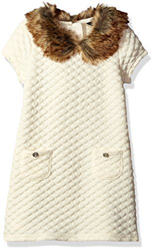 Nautica Big Girls Double Knit Quilted Dress with Faux Fur Collar, Cream, 10