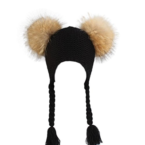 Braid Beanie (Children Knitted Hat Beanie Kids Acrylic Wool Braids Hat Child Ear Cap Real Fur PomPom Girls Cute Winter Warm Skullies By Hongxin (Black))
