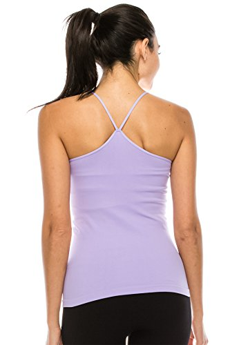 Kurve American Made Y-Back Spaghetti Strap Basic Cami, UV Protective Fabric UPF 50+ (Made with Love in The USA) Lilac