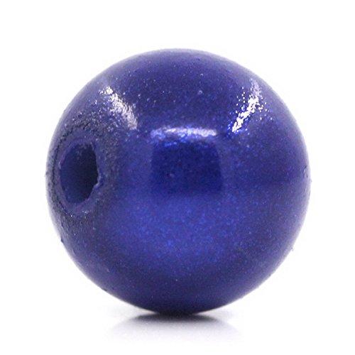 Housweety Bijoux - 100 Perles Magiques ABS Plastique Bleu Fonce 8mm Dia.
