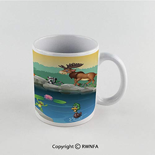 - 11oz Unique Present Mother Day Personalized Gifts Coffee Mug Tea Cup White Cartoon Decor,Funny Mascots Animals by the Lake Moose Fox Squirrel Raccoon Kids Nursery Theme,Multi Funny Ceramic Coffee Tea