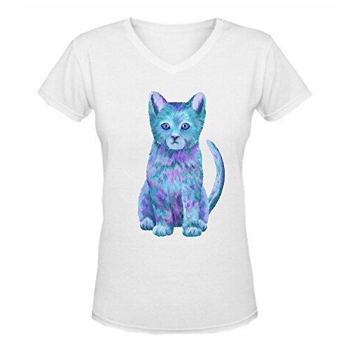 blue-kitty-womens-v-neck-t-shirts-white