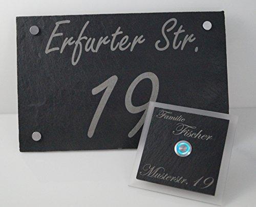 Nur bei uns !! Schiefer Set Hausnummer + Türklingel Klingel Fischer Klingelplatte inkl. LED Taster (z.B. weiß / blau...), Acrylplatte und Gravur / Namensgravur 1 Familienhaus - ideal als Geschenk zum Geburtstag o. zur Hochzeit
