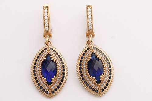 Turkish Handmade Jewelry Marquise Shape Sapphire and Round Cut Topaz 925 Sterling Silver Dangle/Drop Earrings (Round Earrings Marquise)