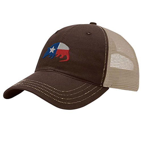 (Speedy Pros Armadillo Texas Flag Embroidery Design Richardson Cotton Front and Mesh Back Cap Brown/Khaki)
