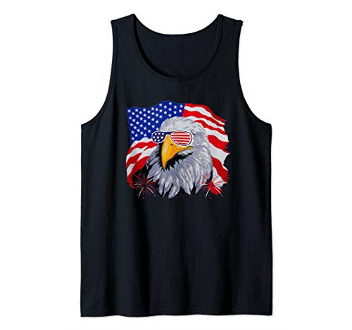 Patriotic Eagle T-Shirt 4th of July USA American Flag Tshirt Tank Top