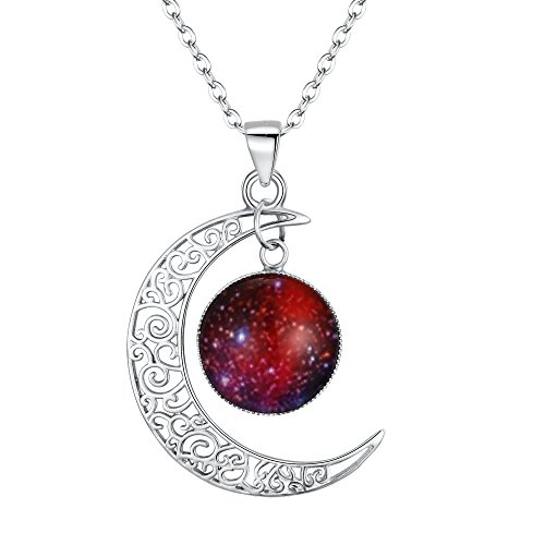 Glass Necklace Silver 925 - BriLove 925 Sterling Silver Necklace for Women Galaxy & Crescent Moon Glass Bead Pendant Necklace Red