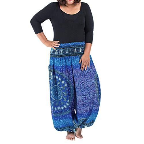 HYSGM Women Plus Size Casual Loose Boho Hippy Yoga Trousers Wide Leg Gypsy Pants (One Size, Blue)