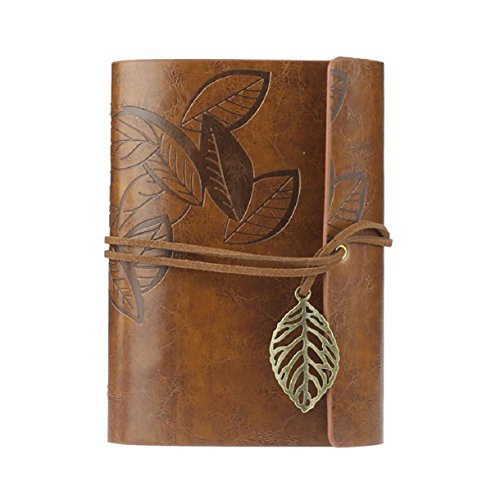 Aokdis (TM) Hot Selling Vintage Leaf Leather Cover Loose Leaf Blank Notebook Journal Diary Gift (brown)