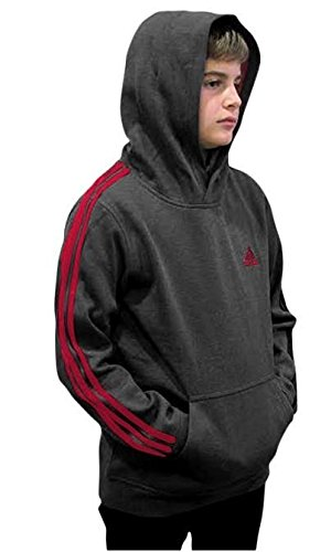 Outerstuff adidas Youth Fleece Collection (Youth Medium 10/12, Fleece Pullover Hoodie, Dark Gray/Scarlet) by Outerstuff