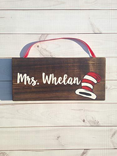 MarthaFox Dr Seuss The cat in The hat Wooden Teacher Door Hanger Wooden Door Sign Teacher Name Plaque Teacher Gift Teacher -