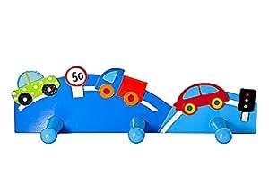 Triple gancho perchero de pared la ropa en tonos azules y decorado con coches para la habitación de los niños