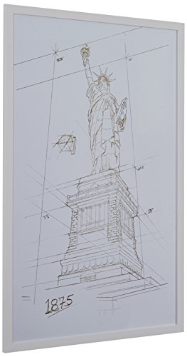 Modern Gold White and White Print Wall Art of Statue of Liberty, White Frame, 22 x 32