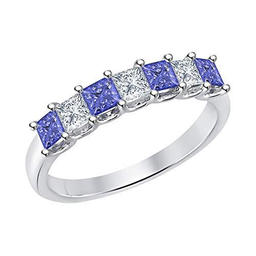 (Princess Cut Tanzanite & Diamond Half Eternity 14k White Gold .925 Sterling Silver Wedding 7-Stone Band Ring for Women)