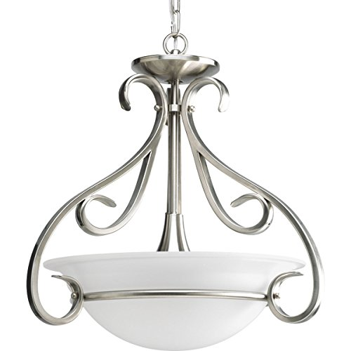 (Progress Lighting P3843-09 3-Light Semi-Flush with Etched White Bell-Shaped Glass Bowl and Squared Scrolls and Arms, Brushed Nickel)