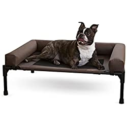 "K&H Pet Products Original Bolster Pet Cot Elevated Pet Bed Medium Chocolate/Mesh 25"" x 32"" x 7"""