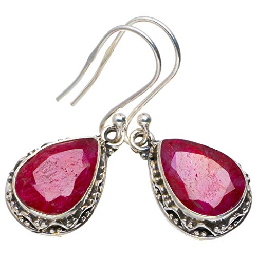 (Natural Cherry Ruby Handmade Unique 925 Sterling Silver Earrings 1.25