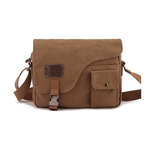MOORE CARDEN Messenger Bag Leather Canvas Shoulder Bookbag Laptop Bag(Coffee)