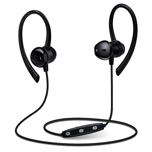 Wireless Sports Bluetooth Headphones V4.1 Earphones with Mic IPX5 Waterproof HD Sound with Bass Magnetic attachment In Ear Earbuds for Gym Running Driving Leisure 9 Hour Noise Headsets (Black)
